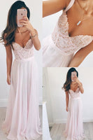 V-neck Long Chiffon Baby Pink Long Prom Dress Evening Dress-NBAdresses