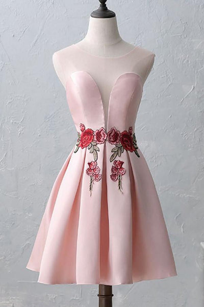 Knee-Length Open Back Pink Satin Homecoming Dress With Appliques-NBAdress