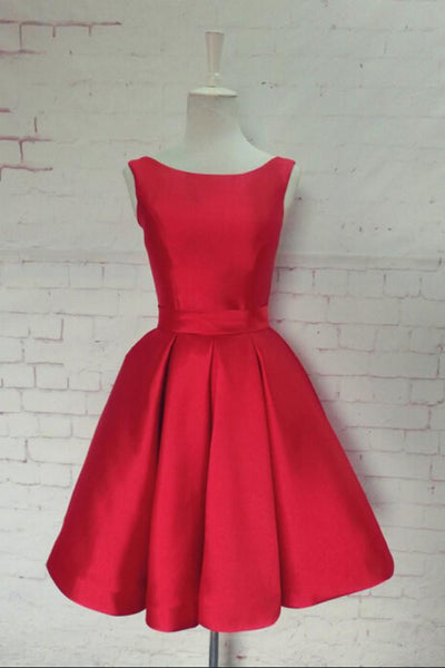 Hot-selling Bateau Satin Knee-Length Red Homecoming Dress With Bowknot-NBAdress