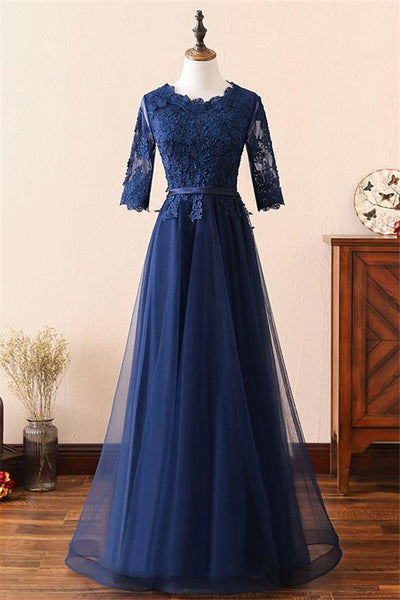 Dark Blue Round Neck Lace Tulle Long Prom Dress, Blue Bridesmaid Dress-NBAdresses