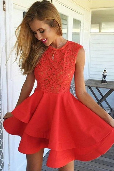 A-Line Jewel Short Red Satin Homecoming Dress with Lace Ruffles -NBAdress