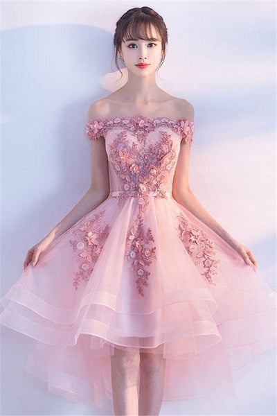 Cute Pink Tulle Lace Short Prom Dress, Cute Homecoming Dress-NBADRESSES