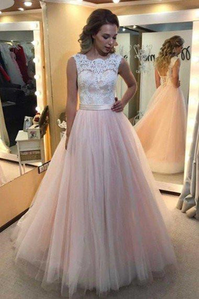 A-line Lace Scalloped-Edge Lace-up Sweep Train Wedding Dress-NBAdress