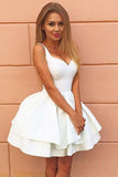 Ball Gown Straps Short Lace-up White Satin Homecoming Dress-NBAdress