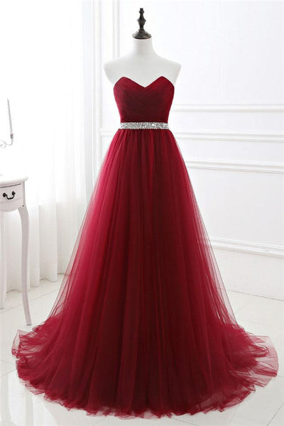 Burgundy Tulle Long Prom Dress, Burgundy Bridesmaid Dress-NBAdresses