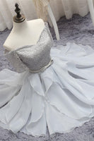 Gray Tulle Lace Short Prom Dress, Gray Homecoming Dress=NBAdresses