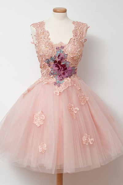 Knee-Length Ball Gown Pink Homecoming Dress With Appliques Embroidery-NBAdress