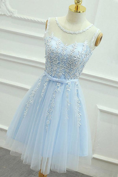 A-Line Jewel Short Blue Tulle Homecoming Dress with Sash Appliques -NBAdress