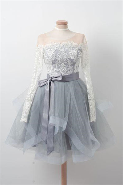 Gray Round Neck Tulle Lace Short Prom Dress, Gray Homecoming Dress-NBAdresses