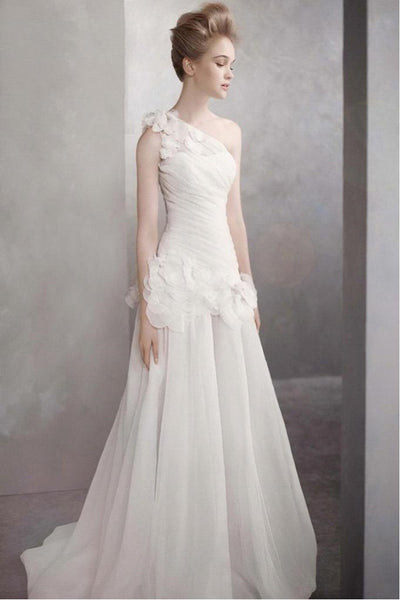 Fashion Simple Slim ShoulSers fold flowers Wedding Dresses-NBAdresses