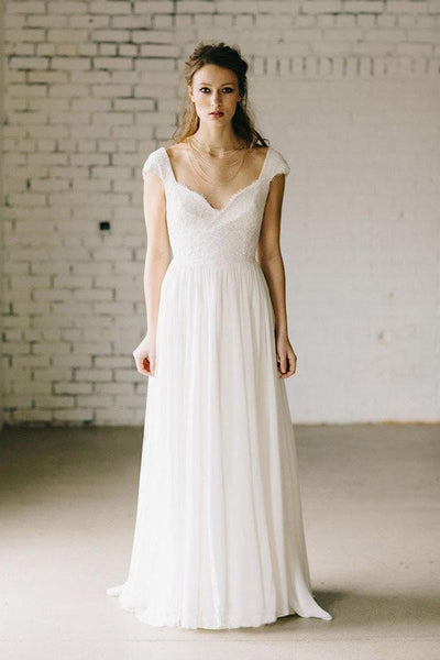 A-Line Ivory Lace Cap Sleeve Vintage Chiffon Wedding Dresses-NBAdresses