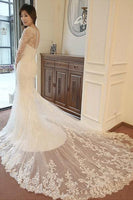 Elegant Mermaid Sleeveless Wedding Dress With Court Train -NBAdress