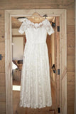 Boat Neck Short Sleeve Vintage Lace Floor Length Ivory Wedding Dresses -NBAdress