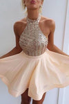 Fancy Halter Open Back Short Homecoming Dress With Beading-NBAdress