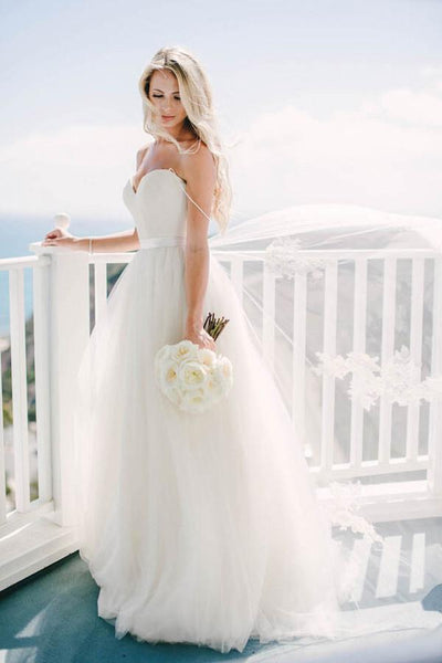 Ivory Tulle Destination Sweetheart Spaghetti Strap Wedding Dress-NBAdresses