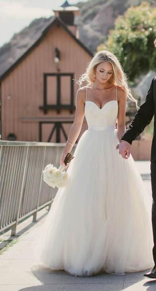 Ivory Tulle Destination Sweetheart Spaghetti Strap Wedding Dress - Spaghetti Strap Wedding Dresses