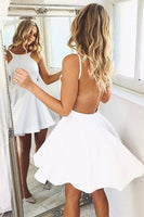 Simple Short White Backless Homecoming Dress Party Dress Prom Dress-NBAdress
