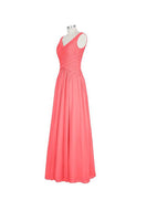 Long Chiffon Straps V-neck Bridesmaid Dresses-NBAdress