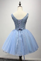Scoop Short Blue Tulle Homecoming Dress Party Dresses with Appliques -NBAdress