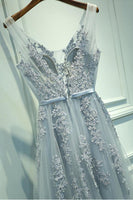 A-line V neck Lace Appliques Tulle Prom Dress Evening Dress-NBAdresses