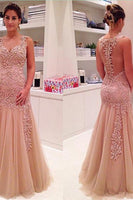 Elegant V-Neck Layers Tulle Prom Dress Sheer Back With Appliques Floral-NBAdresses