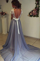 Scoop Neckline Cap Sleeves Chiffon Prom Dress with Lace Backless-NBAdresses