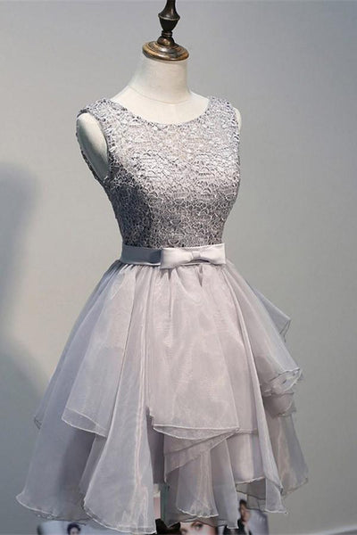 Scoop Backless Short Grey Organza Homecoming Dress with Appliques -NBAdress