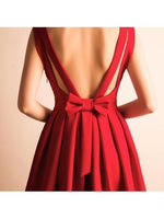 A-Line V-Neck Bowknot Pleats Short Prom Dress Homecoming Dress-NBAdress