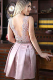 A-Line Jewel Pink Short Satin Homecoming Dress With Beading Appliques-NBAdresses