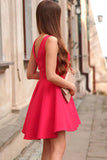 A-Line V-Neck Sleeveless Short Red Satin Homecoming Dress-NBAdresses