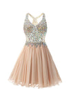 Chiffon Applique Homecoming Dresses Short Prom Dresses With Straps-NBAdress