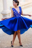 A-Line V-Neck Backless Short Royal Blue Satin Homecoming Dress With Lace-NBAdresses