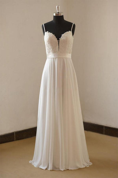 Vintage A-line Spaghetti Straps Long White Chiffon Wedding Dresses-NBAdress