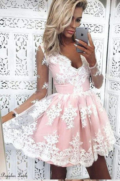 V-Neck Long Sleeves Short Pink Tulle Homecoming Dress With Appliques-NBAdresses