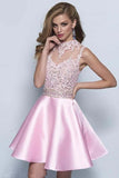 Neckline Keyhole A-line Pink Satin Homecoming Dresses-NBAdresses