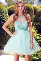 Cute Round Neck Tulle Beads Sequin Short Prom Dress Homecoming Dress-NBAdresses