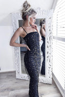 Floor-Length Dark Navy Stretch Satin Prom Dress With Tassels Beading-NBAdresses