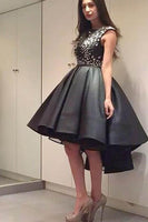 Chic Modern Sparking Beading High Low Black Organza Homecoming Dress-NBAdresses