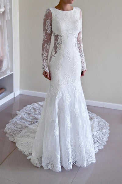 Charming Scoop Open Back Sheath Lace Mermaid Wedding Dress With Long Sleeves -NBAdress