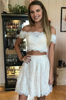 Two Piece Off-the-Shoulder Short Ivory Lace Homecoming Dress with Appliques-NBAdresses