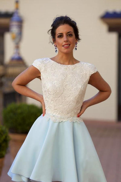 Bateau Knee-Length Light Blue Chiffon Homecoming Dress with Appliques -NBAdress