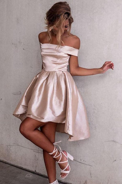 High Low Off-the-Shoulder Pleated Satin Homecoming Dress-NBAdresses