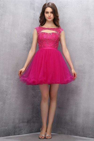 Knee Length Fuchsia Organza Homecoming Dress With Beading-NBAdresses