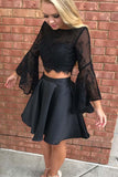 Two Piece Black Long Sleeve Lace Homecoming Dress Party Dress-NBAdresses