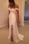 High Quality Strapless Off The Sleeves Long Wedding Dresses-NBAdress