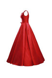 Simple V-Neck Bowknot Lace-Up Red Prom Dress Bridesmaid Dress-NBAdress