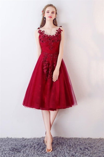 Unique Burgundy Round Neck Tulle Prom Dress, Burgundy Evening Dress-NBADRESSES