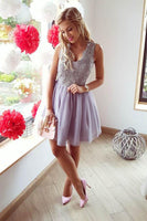 A-Line V-Neck Short Lilac Tulle Homecoming Dress with Lace-NBAdresses