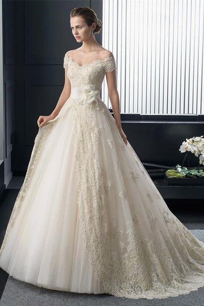 Fashion Off Shoulder Sleeve Wedding Dress Court Train With Lace Appliques-NBAdresses