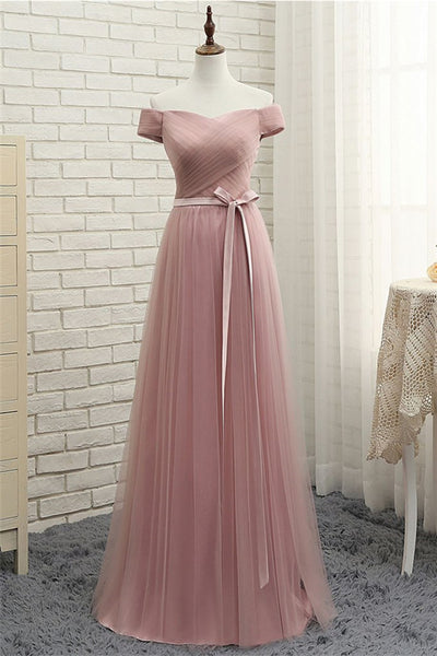 Simple Sweetheart Tulle Long Prom Dress, Tulle Bridesmaid Dress-NBAdresses